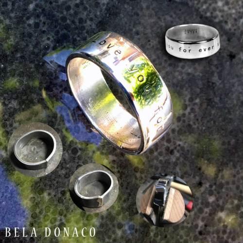 Ring Custom made – met uw tekst – Gepolijst Sterling Zilver