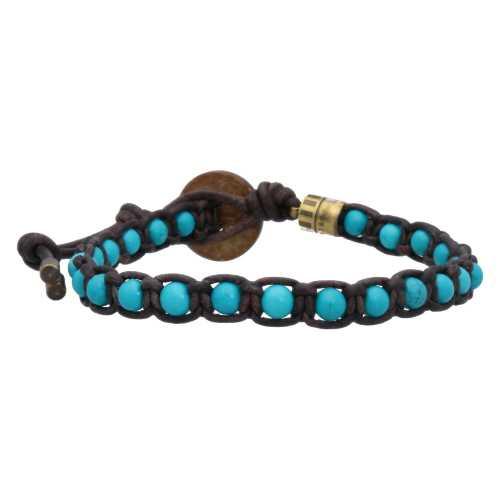 Armband Classic B4 – Turquoise – Geoxideerd Messing – Vintage leer