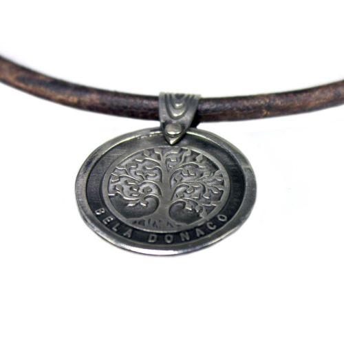 Set – Bohemian vintage ledere ketting / armband met 3 x Tree of life hanger – Sterling Zilver – Koper – Messing