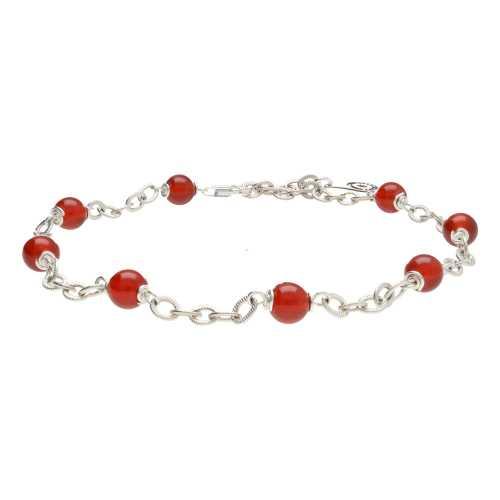 Enkelbandje Wrap Wire B6 – Rode Carneool – Sterling Zilver