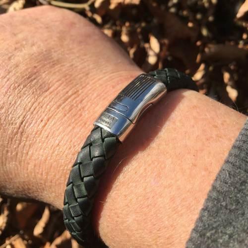 Armband Business line W12 – RVS – Gevlochten vintage donker groen leder