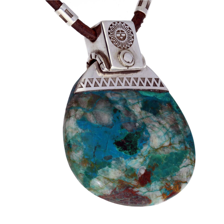 Ketting en hanger Unica Hopi symbool Chrysocolla Arizona Sterling Zilver-5