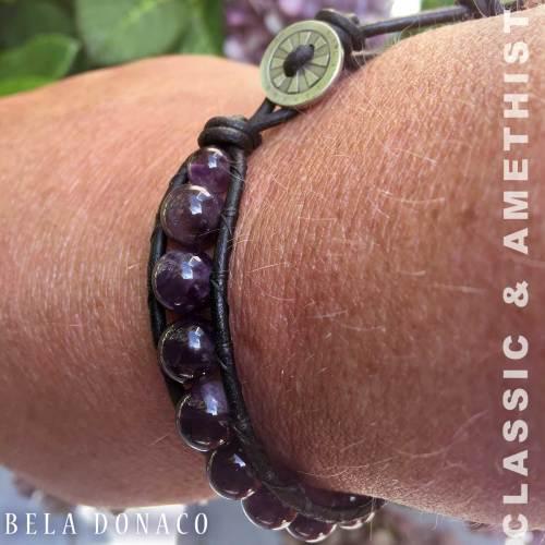 Armband Classic B8 – Amethist – Leer – Sterling Zilver