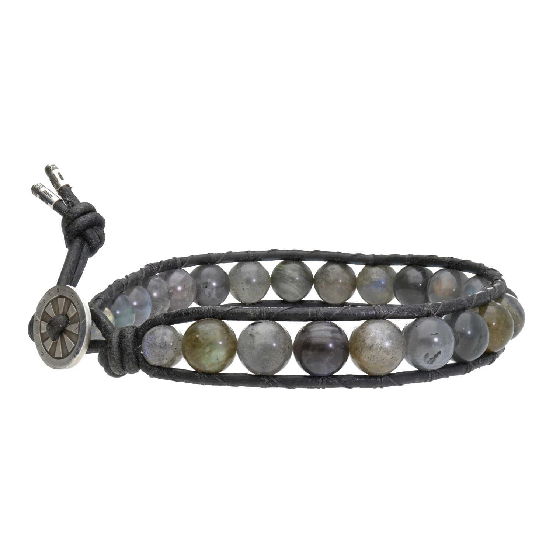 Armband Classic B8 Labradoriet Leer Sterling Zilver-2