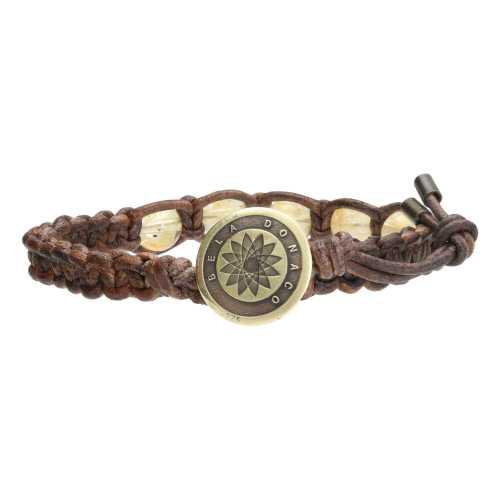 Armband Bohemian B8 – Citrien – Messing – Vintage leder
