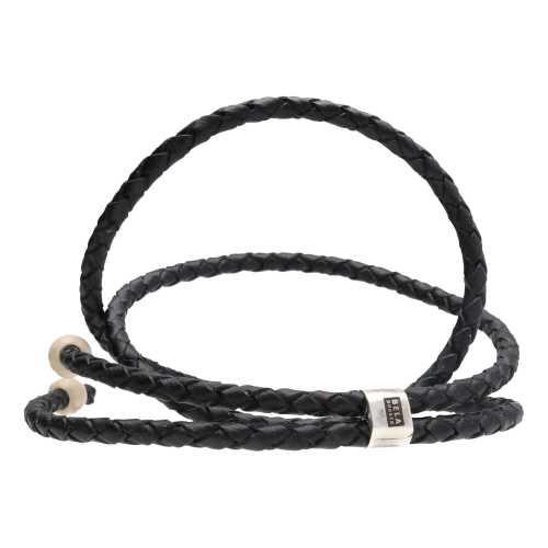 Ketting Classic W6 – Zwart gevlochten vintage leder – Fossil – geoxideerd Sterling Zilver