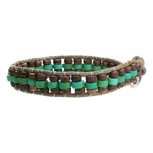 Armband Bohemian B6 x 3 – Hubei Turquoise – kokos – groen vintage leer
