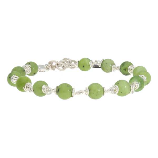 Armband Wrap Wire B6 Canadese Jade Sterling Zilver 2-1