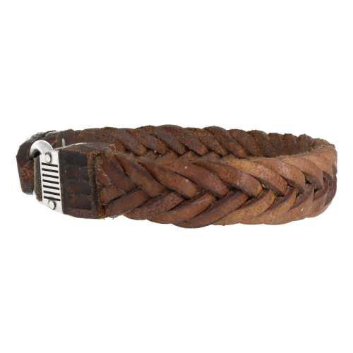 Armband Supreme W15 – Gevlochten vintage old School leder – Sterling Zilver