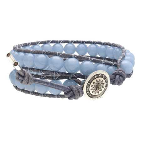 Wikkelarmband Classic B8 Angeliet Vintage blauw-grijs Leder Sterling Zilver-3