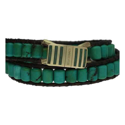 Wikkelarmband Bohemian Supreme B6 – Groen – Turquoise – Messing – Leer
