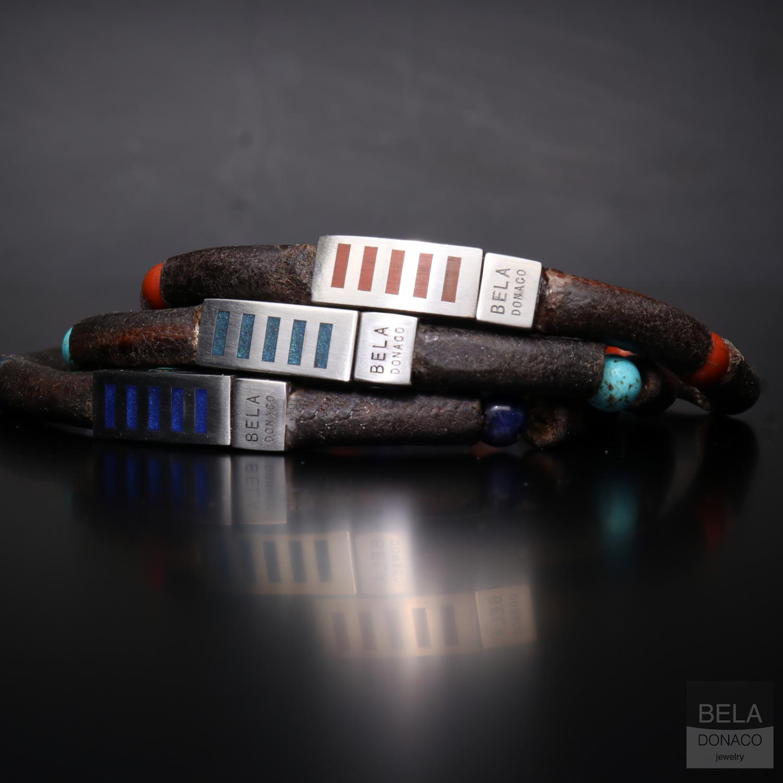 Armband Business Line W7 - Lapis Lazuli - Bruin Vintage Leder - RVS-5