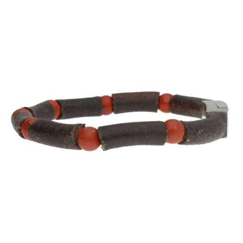 Armband Business Line W7 – Redstone Jaspis – Bruin Vintage Leder – RVS
