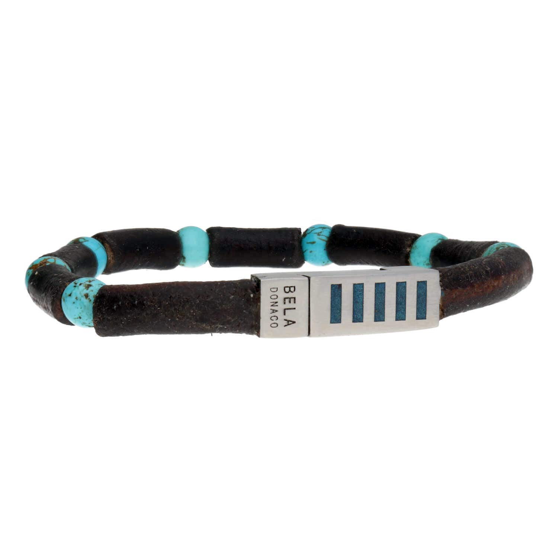 Armband Business Line W7 - Turquoise - Bruin Vintage Leder - RVS-4