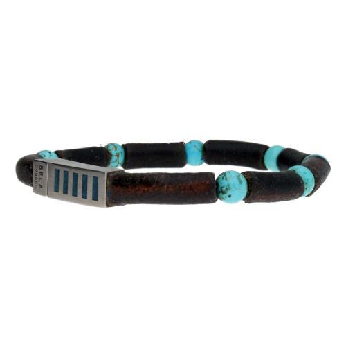 Armband Business Line W7 – Turquoise – Bruin Vintage Leder – RVS