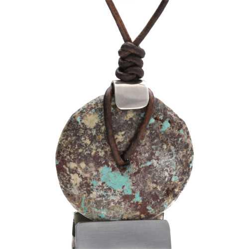 Ketting Bohemian – antieke Tibetaanse Turquoise Donuts – Sterling Zilver – Leder koord – 5 cm