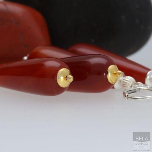 Oorbellen Art Deco – Rode Carneool – 24K verguld Sterling Zilver