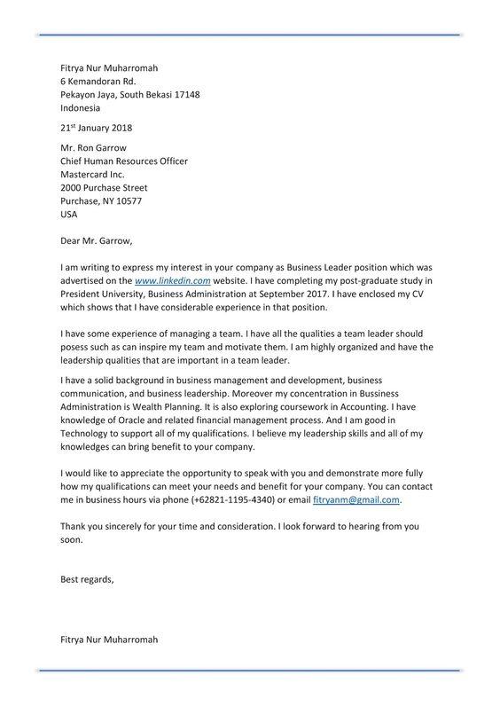 Contoh Application Letter Sekretaris Dalam Bahasa Inggris Andrian