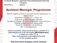 Assistant Manager Programmer - Jakarta Mei 2018