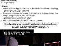 Senior Programmer - Gading Serpong, Tangerang Agustus 2018