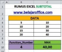 Rumus Excel Subtotal