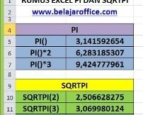 Rumus Excel PI dan SQRTPI
