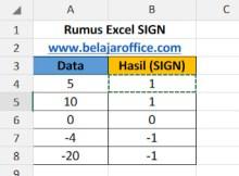 Rumus Excel SIGN