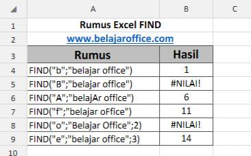 Rumus Excel FIND