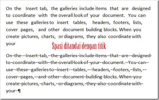 Contoh Dokumen dengan Spasi Ekstra