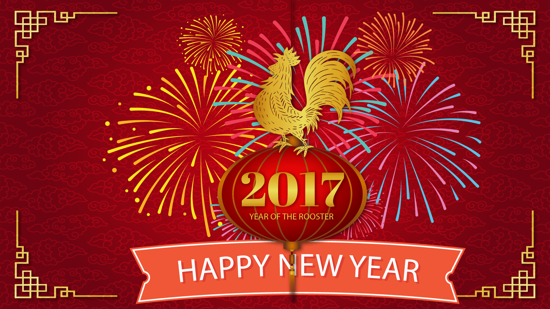 New Year-Rooster with fireworks