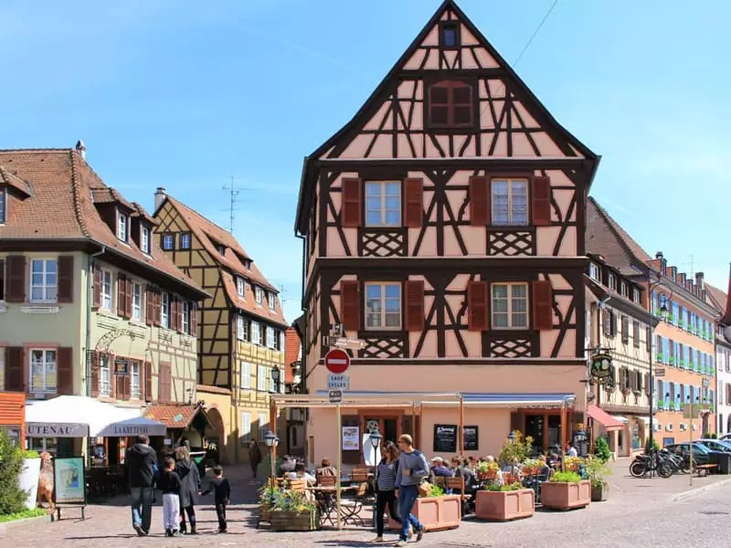 colmar france exterior decoration traditional half timbre building house