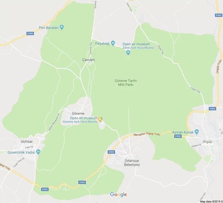 map cappadocia, turkey