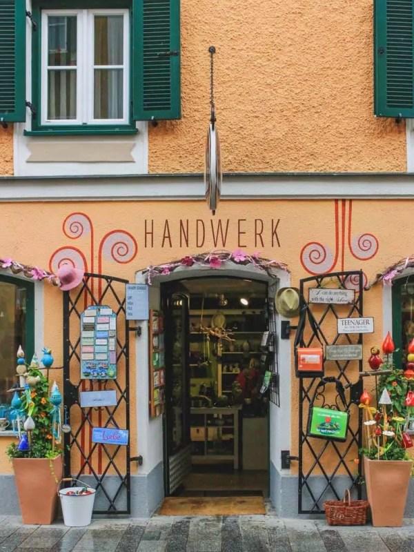 salzburg austria sound of music tour handwerk souvenir gift shop orange frontage