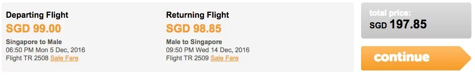 Tigerair cheap fare Maldives Singapore