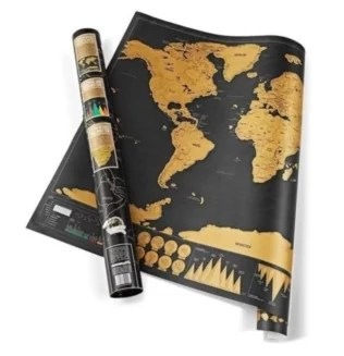 Black and Gold World Scratch Map TRAVEL GIFTS