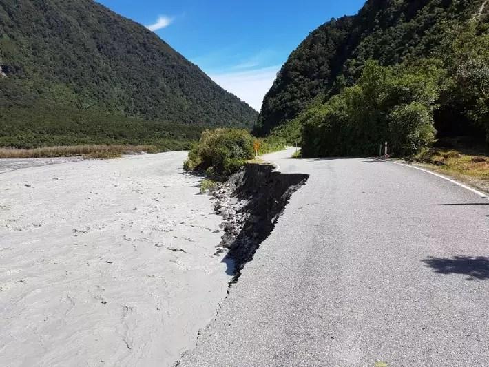 cyclone broken road fox glacier new zealand