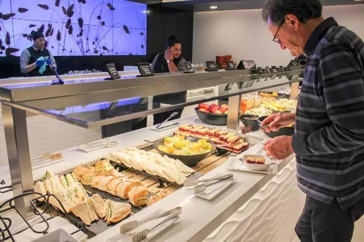 air new zealand flight business class lounge buffet food