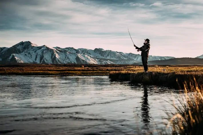 fishing snow mountain