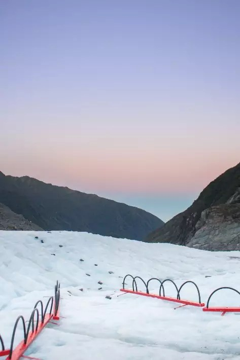 sunrise fox glacier, new zealand