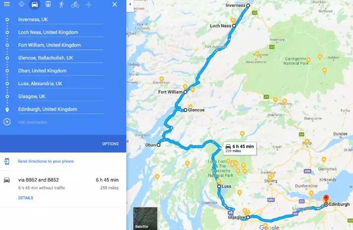scotland itinerary, road trip