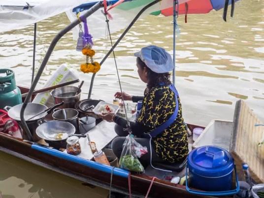 cooking in boat, Day trips from Bangkok -Amphawa Floating Market, Maeklong Railway Market, Ban Bang Phlap