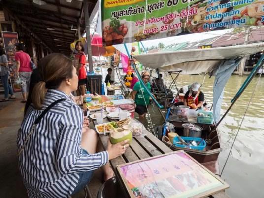 eating thai food, Day trips from Bangkok -Amphawa Floating Market, Maeklong Railway Market, Ban Bang Phlap