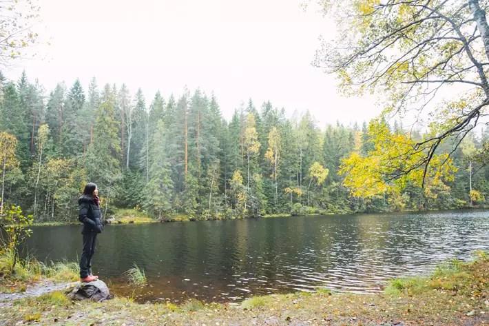 girl overlooking lake, Nuuksio National Park