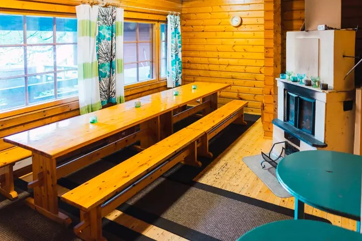 tables wood cabin groups green window Nuuksio National Park