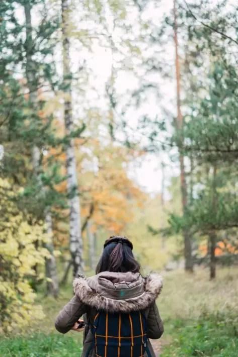 back view girl forest, Seurasaari Open-Air Museum, Helsinki backpack