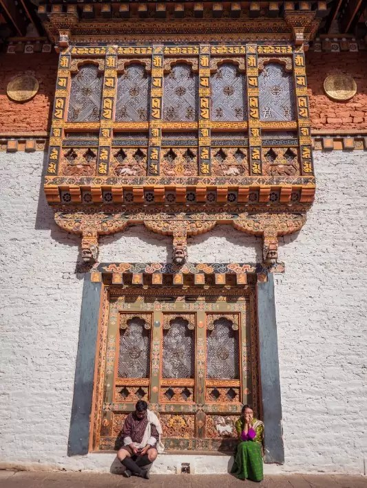 Punakha Dzong windows, Bhutan