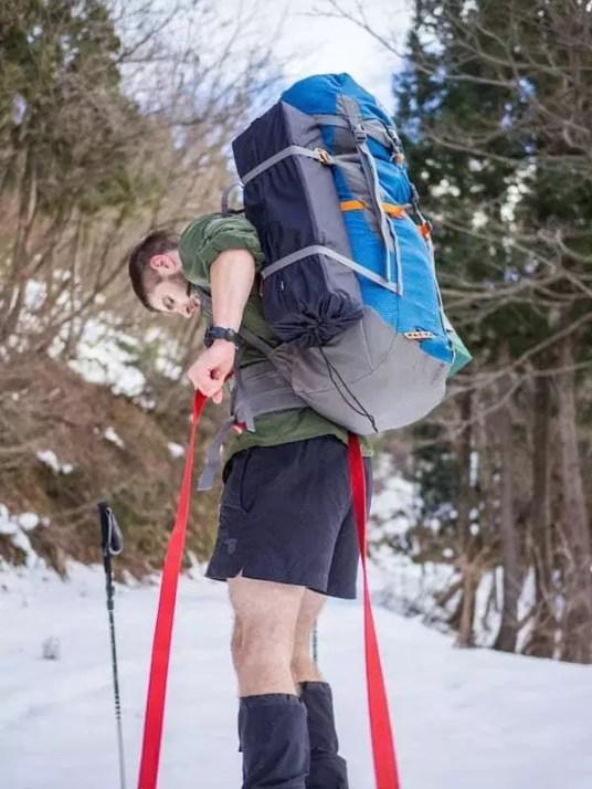 hiking gear man winter japan