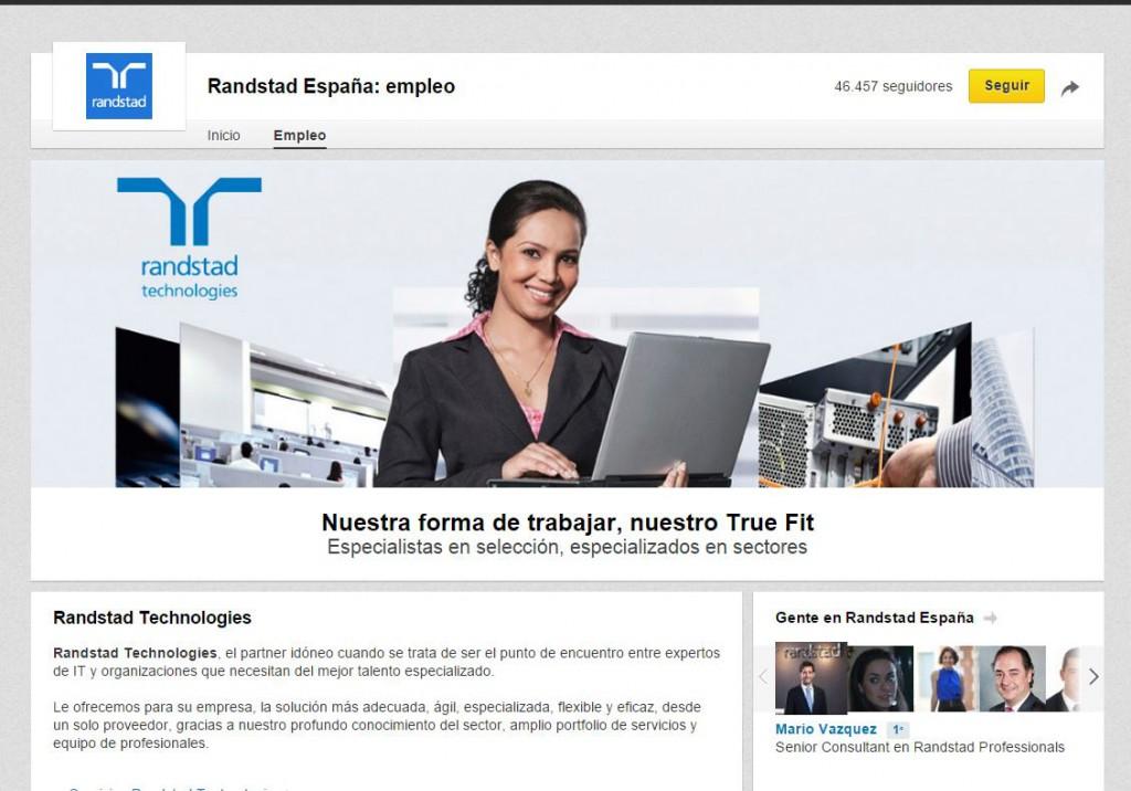 Ejemplo de página de empleo de Randstad
