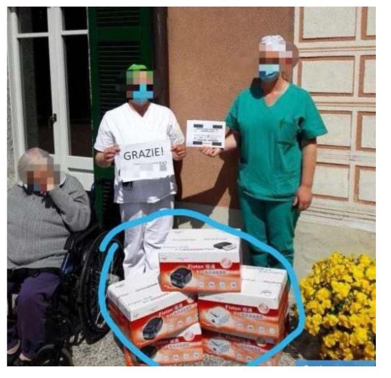 Donaciones a residencias en Italia.