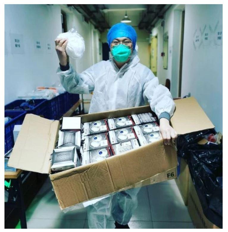 El material sanitario a su llegada a China.